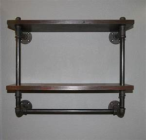 Steel pipe shelf and towel rack (double) | basement ...