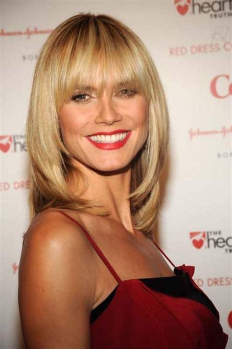 Best Celebrity Blunt Bangs Heidi Klum   Women Hairstyles