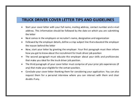 truck driver cover letter sle pdf