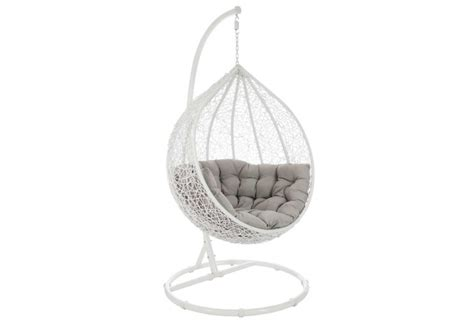 siege en osier fauteuil suspendue œuf en osier blanc et gris 122x73x195cm