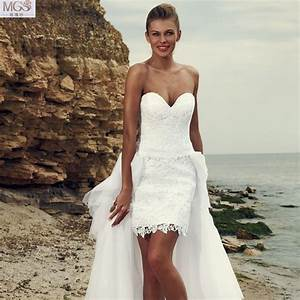 sexy white 2016 short beach wedding dresses lace With long beach wedding dress