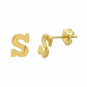 letter s 10k yellow gold initial earrings laser cut With gold letter k earrings