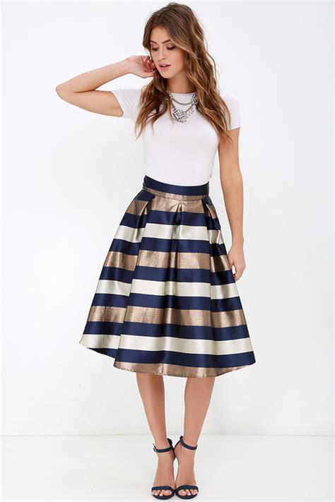 striped skirt midi skirt navy blue and bronze skirt 42 00