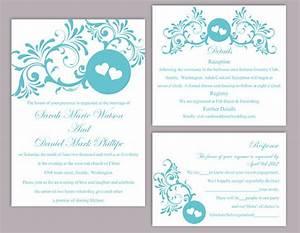 diy wedding invitation template set editable word file With free wedding invitation templates turquoise