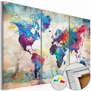 Tableau Du Monde : tableau liege image sur toile xxl art 3 formats carte du monde k a 0178 p e ebay ~ Teatrodelosmanantiales.com Idées de Décoration