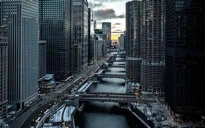 Buildings Aerial Chicago Bridges 1080p Background Widescreen