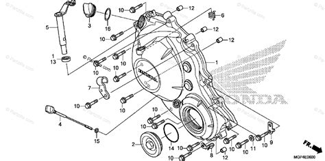 honda motorcycle 2013 oem parts diagram for right crankcase cover partzilla