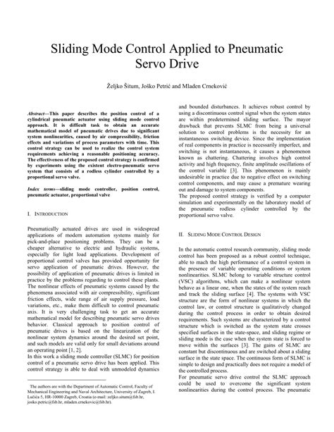 (PDF) Sliding mode control applied to pneumatic servo drive
