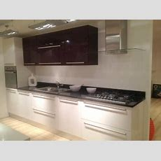 Ex Display White And Aubergine Kitchen, Black Granite