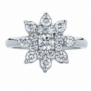 round other engagement ring white gold snowflake With snowflake wedding ring set