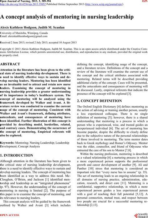 concept analysis  mentoring  nursing leadership