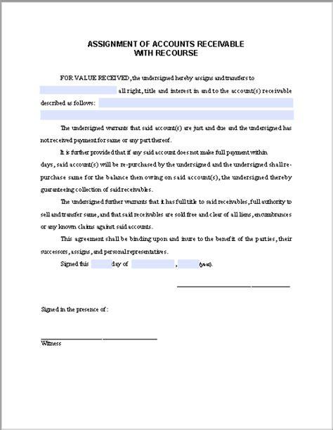 assignment form  accounts receivable  recourse