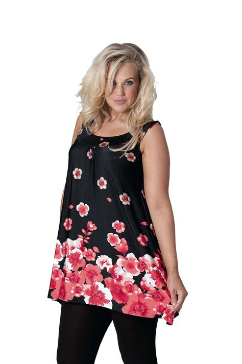New Womens Top Plus Size Ladies Tunic Poppy Print Floral ...