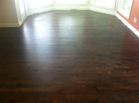 dark walnut stained red oak hardwood flooring