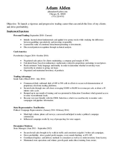 pawn broker resume adam alden s professional resume pawn