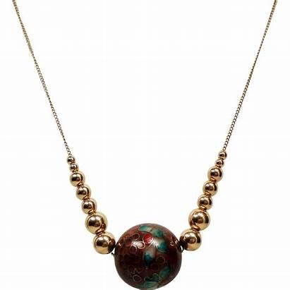 14k Gold Bead Cloisonne Graduated Neck Necklace
