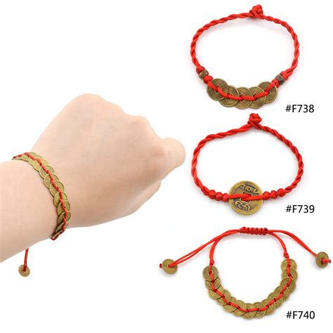 pendant string bracelet feng shui string wealth bless lucky coin charm