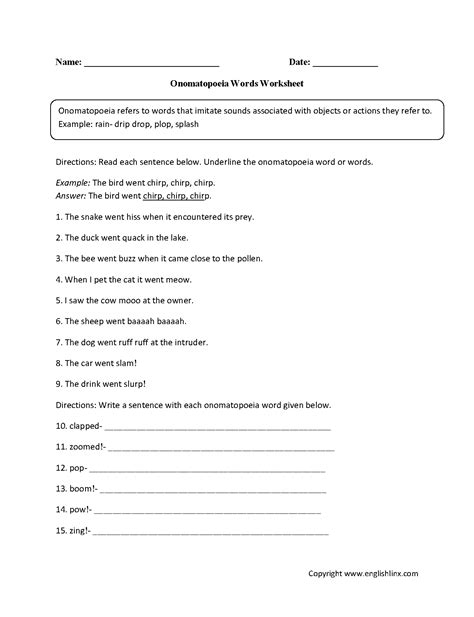 onomatopoeia worksheets onomatopoeia words worksheet