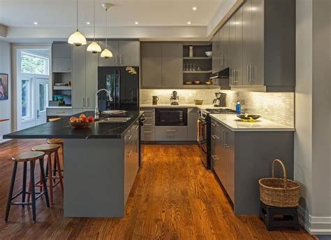 gray kitchen cabinets with hardwood floors chic design ideas for a grey kitchen