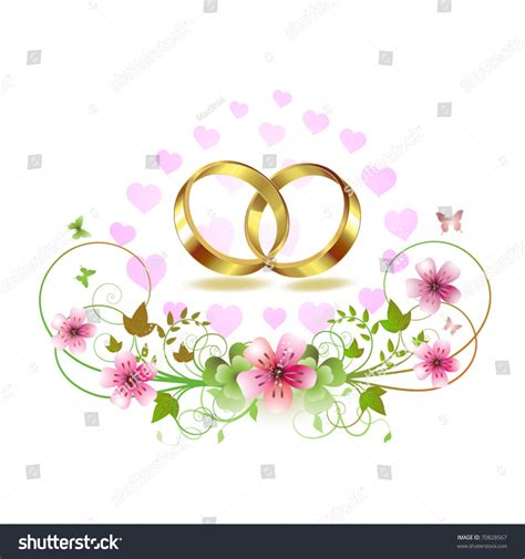 two wedding ring with hearts and decorated flowers isolated white background stock vector