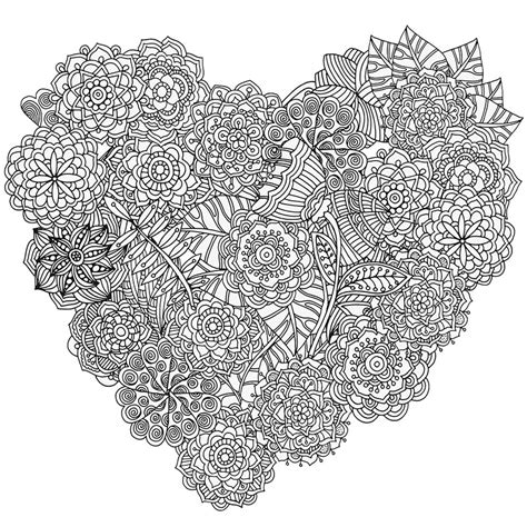 downloadable heart coloring design  stress relief