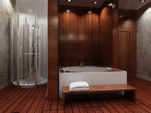 Is wood flooring in the bathroom a good idea coswick for Bathroom in the woods