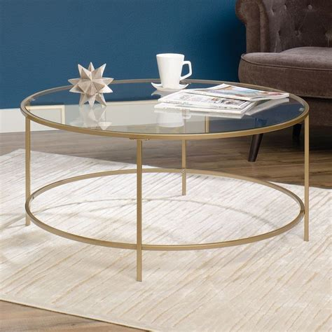 Shop hundreds of round coffee table sets deals at once. Sauder Woodworking Gold Finish Round Coffee Table | Brass coffee table, Round coffee table ...