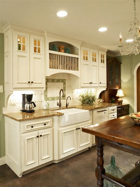 custom tile  green french country kitchen hgtv