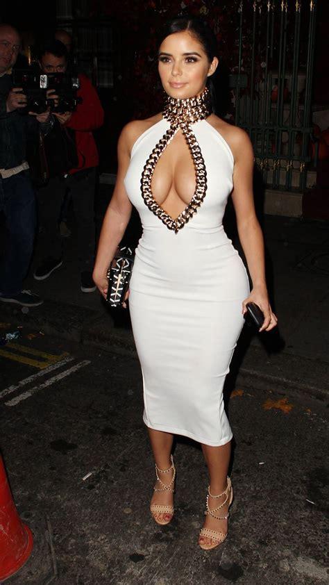 demi rose cleavage  white dress  mayfair hot