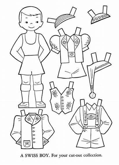 Switzerland Doll Paper Printable Dolls Template Coloring