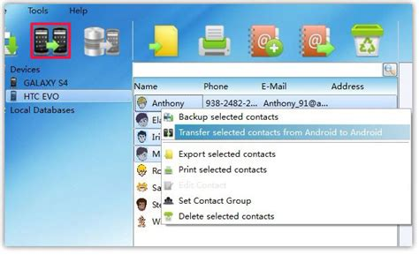 how to transfer contacts between android phones on pc