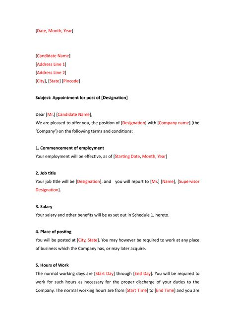 sample  appointment letter   employee templates