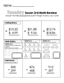 third grade saxon math weekly review worksheets by little learning lane