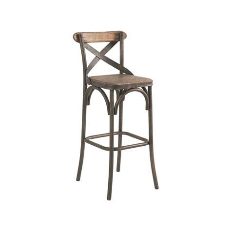 chaise de bar pin recycl 233 et fer vieilli landaise pier