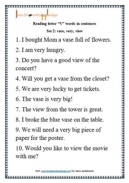 kindergarten reading practice  letter  words