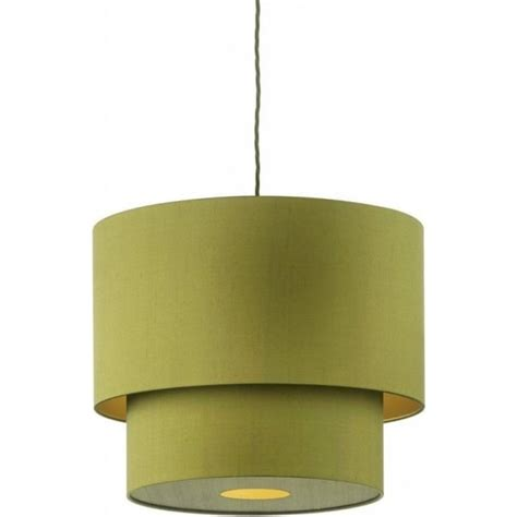 two tier green silk pendant light shade on braided cord cable