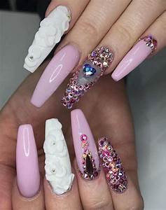 nail art designs | with rhinestones | pink | flowers ...