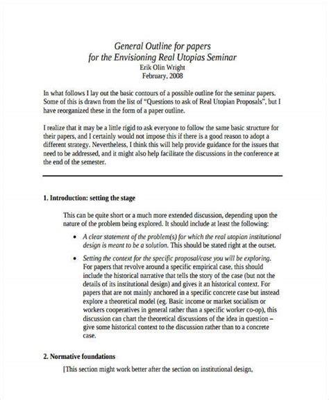 paper outline templates  sampleexample format   premium templates