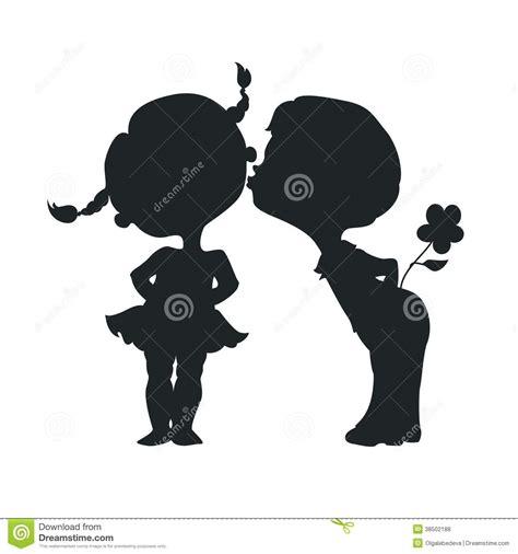 silhouettes  kissing boy  girl royalty  stock