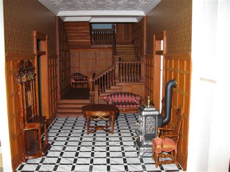late victorian english manor dollhouse  miniature  scratch great room  doors