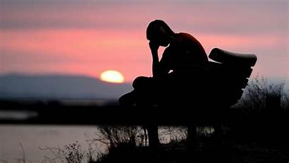 Sad Alone Silhouette Dark Sunset 4k Background