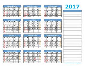 2017 Printable Yearly Calendars with Holidays