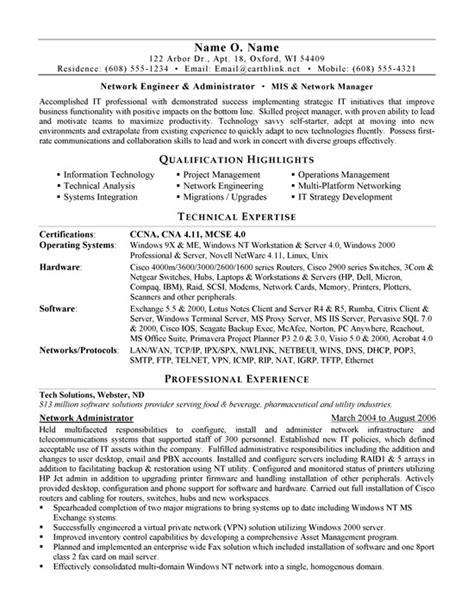 Networking Resumes by Network Administrator Resume Exle