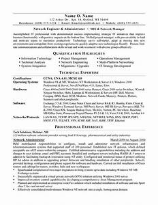 Network administrator resume example for Admin resume template