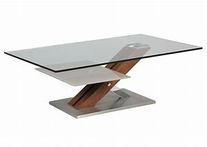 Table Basse Pied Bois : acheter votre table basse plateau verre pied bois et inox ~ Teatrodelosmanantiales.com Idées de Décoration
