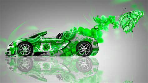 bugatti veyron roadster fantasy flowers butterfly car