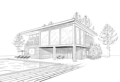cuisine centrale chartres vector sketch of modern house with swimmingpool stock