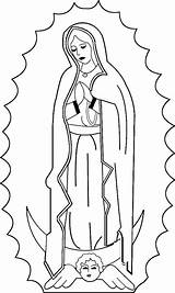 Coloring Guadalupe Mary Virgin Catholic Lady Pages Virgen Feast sketch template