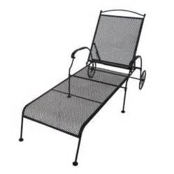 shop garden treasures hanover mesh seat wrought iron patio chaise lounge at lowes