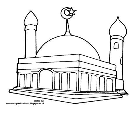 gambar mewarnai gambar tempat ibadah berdoa masjid hitam